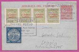 CONDOR ZEPPELIN LZ 127 1930 Primer Vuelo Norte America Air Mail EP PARAGUAY GERMANY LUFTPOST Par Avion First Flight - Flugzeuge