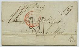 LàC 1836 D Liverpool Pour MM. Puget à Marseille Via Paris. Entrée Par Calais. - 1801-1848: Precursors XIX