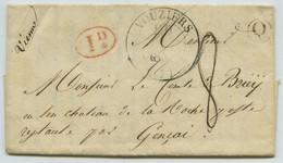 Type 13 Vouziers + Décime Rural + Boîte Rurale Q Challerange / LàC 1841 Pour Le Comte De Briey à Gençay. - 1801-1848: Precursors XIX