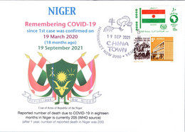 (2 A 24) 1st Case Of COVID-19 Reported By Niger (18 Month Ago 19-3-2020) (Niger Flag Stamp) - Enfermedades