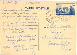 TREIGNAC CORREZE TàD Du 21-10-39 ENTIER DEFILE DU 11 NOVEMBRE 70 C. YT 403-CP1 - Cartes Postales Types Et TSC (avant 1995)