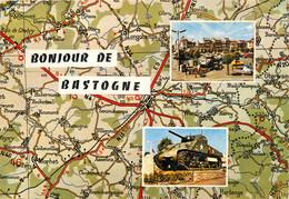 CPSM Bonjour De Bastogne-Multivues-Beau Timbre       L938 - Bastenaken