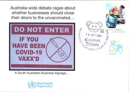 (2 A 29)  New Controvertial Signage In South Australia Against COVID-19 Vaccination - 18 September 2021 (tag Stamp) - Enfermedades