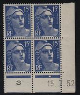 FRANCE  Coin Daté **  Type Marianne De Gandon  15f  Outremer  15.7.52  N° Yvert 886  Neuf Sans Charnière - 1950-1959