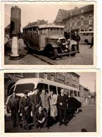 2 Photos Originales Avec Plis Autocar & Pompe à Essence Devant Le Restaurant St Joseph & Mécanos Car, Bus, Autobus. - Cars