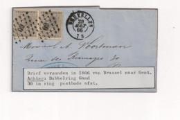Belgique COB 17 Sur Lettre BRUXELLES Vers GAND - 1865-1866 Profile Left