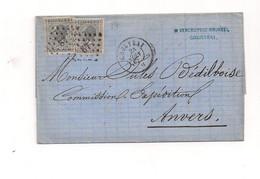 Belgique COB 17 Sur Lettre COURTRAI Vers ANVERS - 1865-1866 Profile Left