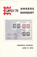 25754# CAPEX 78 AWARDS BANQUET TORONTO CANADA JUNE 17 1978 MENU - Hojas Bloque