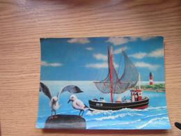 3 D Postcards Cartoon, Sea Seagull Boat - Mechanical