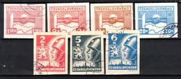 Tchécoslovaquie 1945 Mi 408-10+411-4 (Yv 356-62), Obliteré - Used Stamps