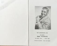 DOODPRENTJE - HENRI PAREIN (° 1913 +/- 1982  ) (dp 101 ) - Obituary Notices