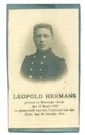 WO1 / WW1 - Doodsprentje Leopold Hermans - Moerzeke Kastel /   - Gesneuvelde - Obituary Notices