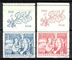 Tchécoslovaquie 1948 Mi 550-1+Zf (Yv 482-3+vignette), Obliteré - Usados