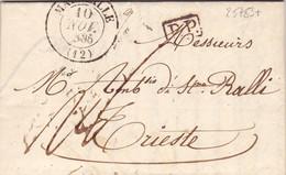 25783# LETTRE Obl MARSEILLE 1835 T13 P.P. PORT PAYE Pour TRIESTE VOIR ARRIVEE BLEU AU DOS + TAXES - 1801-1848: Precursors XIX