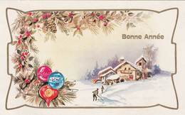 1053 -CARTE BONNE ANNEE .HOUE BOULES DECORATIVES PERSONNAGES DANS PAYSAGE ENNEIGE. 3/1254/B . ITALY - Anno Nuovo