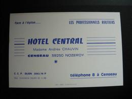 39 Jura - Carte De Visite - Hotel Central à Censeau 12 X 8 Cm - Altri Comuni