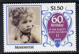 Montserrat 1986 Queen's 60th Birthday $1.50 U/m With Blue-grey Background Omitted (unlisted By SG) - Montserrat