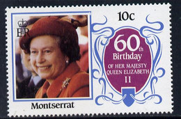 Montserrat 1986 Queen's 60th Birthday 10c U/m With Blue-grey Background Omitted (unlisted By SG & UH) - Montserrat