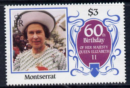 Montserrat 1986 Queen's 60th Birthday $3 U/m With Blue-grey Background Omitted (unlisted By SG & UH) - Montserrat