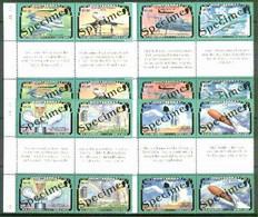 Montserrat 1995 50th Anniversary Of End Of World War II, Two Sets Of 8 (4 Se-tenant Gutter Blocks Of 4) Each Overprinted - Montserrat