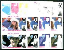 Montserrat 1986 Royal Wedding $2 Se-tenant Pair (Fergie & Andrew) Set Of 9 Imperf Progressive Proofs Comprising 5 Indivi - Montserrat