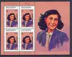 Montserrat 1998 Famous People Of The 20th Century - Anne Frank (Holocaust) Perf Sheetlet 4 Vals Opt'd SPECIMEN, U/m SG 1 - Montserrat