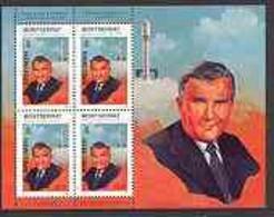Montserrat 1998 Famous People Of The 20th Century - Wernher Von Braun (Space Scientist) Perf Sheetlet 4 Vals Opt'd SPECI - Montserrat
