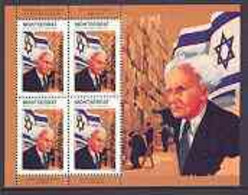Montserrat 1998 Famous People Of The 20th Century - David Ben Gurion (Israel) Perf Sheetlet 4 Vals Opt'd SPECIMEN, U/m A - Montserrat