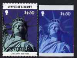 Montserrat 1986 Statue Of Liberty Centenary $4.50 Die Proof In Red And Blue Only On Plastic (Cromalin) Card Ex Archives, - Montserrat