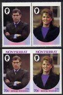 Montserrat 1986 Royal Wedding 70c Se-tenant Pair With Country Name & Value Omitted, Plus Imperf Pair As Normal, All U/m, - Montserrat