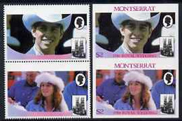 Montserrat 1986 Royal Wedding $2 Se-tenant Pair With Country Name & Value Omitted, Plus Imperf Pair As Normal, All U/m, - Montserrat