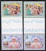 Montserrat 1998 Diana Princess Of Wales $1.50 & $3.00 Se-tenant Imperf Gutter Pair Plus Matched Perf Gutter Pair, Both U - Montserrat