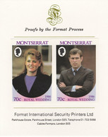 Montserrat 1986 Royal Wedding (Andrew & Fergie) 70c Imperf Se-tenant Proof Pair Format International Proof Card As SG 69 - Montserrat