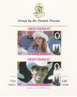 Montserrat 1986 Royal Wedding (Andrew & Fergie) $2 Imperf Se-tenant Proof Pair Format International Proof Card As SG 693 - Montserrat
