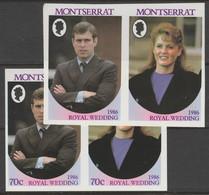 Montserrat 1986 Royal Wedding 70c Imperf Se-tenant Pair With Value Omitted, Plus Normal  Imperf Pair, Both U/m, SG 691av - Montserrat