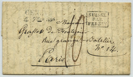 LàC 1826 Genève Pour Paris 14 Rue De La Gange Batelière. Entrée Par Ferney. Description Exaltée De La Suisse Et Du Léman - 1801-1848: Precursors XIX