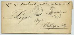 LàC 1852 De Constantine Pour Philippeville. Taxe Double Trait 25 C. Algérie. Ecrite En Hébreu. Judaïca. - 1801-1848: Precursors XIX