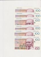 6 X 100 Frank Beyaert, 6 X Consecutive Numbers  UNC  RRRRR - 100 Francs