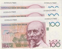 3 X 100 Frank Beyaert, 2 (almost 3) X Consecutive Numbers  UNC  RRR - 100 Francs
