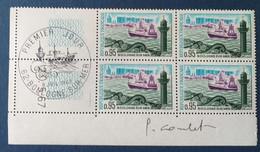 Bloc De 4 Timbres Boulogne Sur Mer N° 1503 De 1967 Avec Tampon 1 Jour Et Signature  Graveur Combet - Altri