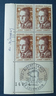 Bloc De 4 Timbres Albert Camus N° 1514 De 1967 Avec Tampon 1 Jour Et Signature  Graveur Durrens - Altri