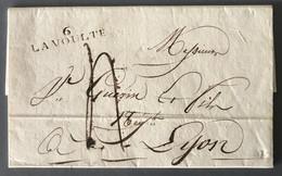 France Griffe 6. LA VOUTE Sur Lettre 10.8.1827 Pour Lyon - (B2209) - 1801-1848: Precursors XIX