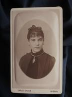 Photo CDV Carlos Braun à Avignon  Portrait Jeune Femme  Collier  CA 1890 - L564B - Anciennes (Av. 1900)