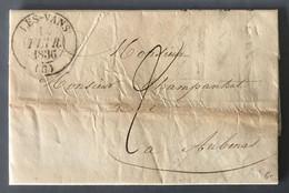 France TAD (type13) LES VANS (6) 15.2.1836 Sur Lettre Pour Aubenas - (B2232) - 1801-1848: Precursors XIX