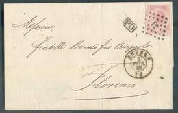 N°20 - 40 Centimes Rose Carminé, Obl. LP.12 Sur Lettre D'ANVERS Le 5 Février 1869 Vers FLorence (Toscane) - Verso ITALI - 1865-1866 Profile Left