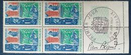 Bloc De 4 Timbres Morlaix N° 1505 De 1967 Avec Tampon 1 Jour Et Signature  Graveur Pierre Bequet - Altri