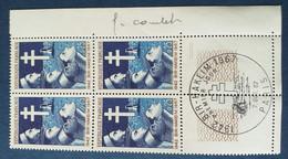 Bloc De 4 Timbres Bir-Hakeim N° 1532 De 1967 Avec Tampon 1 Jour Et Signature  Graveur Combet - Altri