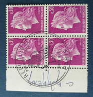 Bloc De 4 Timbres Marianne De Cheffer N° 1536 De 1967 Avec Tampon 1 Jour Et Signature  Graveur - Altri
