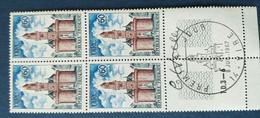 Bloc De 4 Timbres Horloge De Vire N° 1500 De 1967 Avec Tampon 1 Jour Et Signature  Graveur Haley - Altri