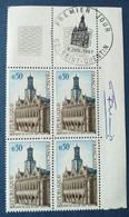 Bloc De 4 Timbres Hôtel De Ville De Saint Quentin N° 1499 De 1967 Avec Tampon 1 Jour Et Signature  Graveur Betemps - Altri
